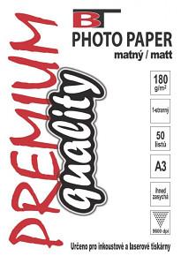 BT fotopapír matný A3 - 180g - (100listů)