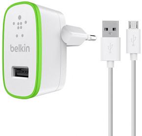 BELKIN USB 230V nabíječka,2.1A, bílá+micro USB