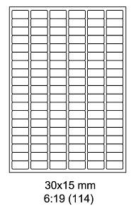 Samolepící ETIKETY 30x15 mm bílé / A4 - 100listů
