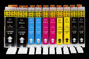 Sada 10ks kompatibilních cartridgí CANON 2 x PGI-550XL BK / 8 x CLI-551XL CMYK