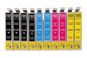 Sada 10ks kompatibilních cartridgí EPSON 4xT1281 / 2xT1282 / 2xT1283 / 2xT1284