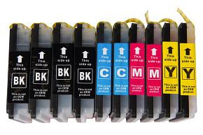 Sada 10ks kompatibilních cartridgí BROTHER 4xLC-985BK / 2xLC-985C / 2xLC-985M / 2xLC-985Y