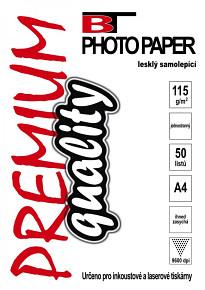 BT samolepící fotopapír lesklý A4 - 115g  (50listů)